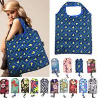 stampa pieghevole portatile sacchetti di acquisto di nylon Home Storage Bag riutilizzabile di Eco-Friendly Bag pieghevole del sacchetto di drogheria multifunzione Shopping Bags