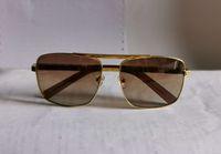 Классические квадратные солнцезащитные очки металлические золотые рамки коричневый градиент объектива 59 мм мужские старинные солнцезащитные очки UV400 Prodection Eyewear с коробкой