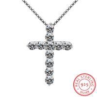 Fine Jewelry reale 925 Solid Silver Cross collana del commercio all'ingrosso Collana della CZ Il micro diamante originale argento per le donne