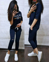Womens designer Outfits 1 2 sleeves Tracksuit 2 Piece Set sp...