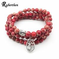Mode Yoga Ohm Bracelet Nouveau Design Femmes Guérison Spirituelle Bijoux À La Mode Naturel Rouge Regalite 108 Mala Bracelet