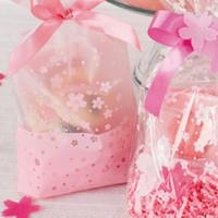 100 pçs / lote diy biscoito de bolacha saco de biscoito rosa claro cherry blossoms impresso saco de presente sacos de embalagem de plástico pequeno para festa de casamento