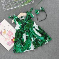 New Toddler Infant Baby Girl Dress Ragazze stampa senza maniche in cotone Princess Pleated Dress Set A-line Casual Kid Summer Beachwear Y19061001