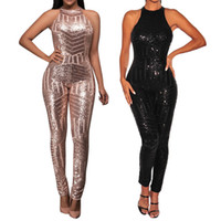 Sexy Party Nacht Jumpsuit Frauen ärmellose Pailletten off Schulter glänzende Strampler Oansatz High Street Playsuit Body Mujer # ssw
