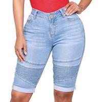 Short pour femmes weigou genou longueur femmes denim push up élastique taille haute courte jeans femme