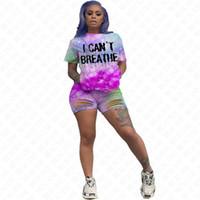Eu não posso respirar Mulheres Suits Eu não posso respirar Tie-dye Letters Fatos T-shirt Verão Buracos Ripple Shorts Two Piece Sets Outfits da D61707