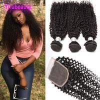 Paquete rizado de cabello humano brasileño 3 paquetes con 4 x 4 Cierre de encaje Kinky Curly Hair Extensions Extensiones con cierres superiores