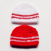 4cabd0962c3 Wholesale newborn baby boy photo props for sale - Lovely Baseball Striped  Beanie Handmade Knit Crochet