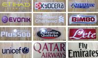 Estampado en caliente patrocinador frontal logotipos en camisetas de fútbol Manchester impresión plástico pegatinas de fútbol brazalete impreso fútbol parches impresionados
