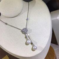 Rose Halskette S925 Sterlingsilber-Anhänger-Halsketten-Süßwasser-Perlen für Frauen-Parteihochzeits-Geschenk