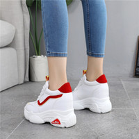 Hot Sale-New Casual High Platform Shoes Women Breathable Shoes 10CM Thick Sole Sneakers