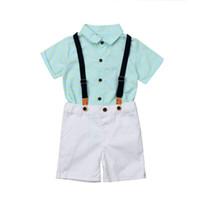 طفل أزياء الأولاد stiped القمصان والسراويل وزرة 2PCS مجموعة ملابس الاطفال الفتيان الصيف الزي المدرسي ملابس الأطفال ذات جودة عالية 3-8Y