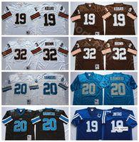 NCAA 축구 32 Jim Brown 19 Bernie Kosar Jerseys 19 Johnny Unitas Jersey 20 Barry Sanders 남자 빈티지 화이트 블루 모든 스티치 좋은
