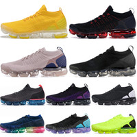2020 nike air vapormax flyknit das mulheres dos homens Running Shoes Sprint Triplo Branco Preto AIR Almofadas Be True Volt Moc laceless Hot perfurador Racer azul Maxs Sneakers