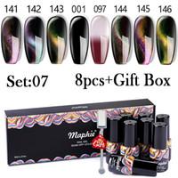 Maphie 8 adet / Lot Sihirli Kedi Göz Jel Seti ile Hediye Kutusu Glitter UV tırnak cilası Vernik Sıcaklık Değişimi Renk Jel Seti