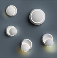 Lâmpada de parede LED Rotação de 360 graus Ajustável luzes de cabeceira 85-265V 6W Lâmpada de parede criativa moderna Corredor redondo lâmpada