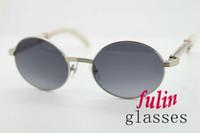 2020 Atacado Hot Branco Genuine Natural chifre Material Metal Sunglasses Vintage Unisex 7550178 Sunglasses Redonda UV400 Driving Óculos