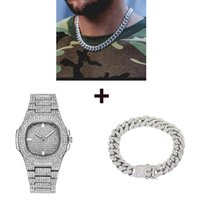 Collar de plata + reloj + pulsera 3Set Hip Hop Miami Curb Cuban Chain Bling Iced Out Paved Rhinestones CZ Rapper For Men Jewelry