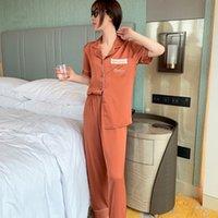 البيجامة الحرير المرأة كم التطريز Pijamas فام قصيرة Homewear مثير الصيف ملابس خاصة منامة ثوب النوم