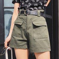 Yaz Denim Şort Kadın Beyaz Şort Kot Yüksek Bel Kadınlar Gym Geniş Bacak Nedensel Jeans Diz Boyu Kısa Kadın