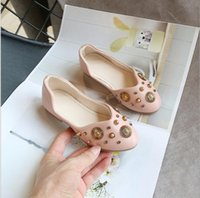 Autumn Girls Leather Princess Shoes Children pointed rivet s...