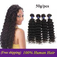 Vendors economico onda profonda dei capelli umani del tessuto brasiliano Bundles peruviano indiano malese onda profonda Virgin di Remy dei capelli trame estensioni 50g / pz