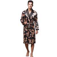 TonyCandice للرجال صقيل رداء طويل الأكمام سبا البشكير التنين مطبوعة Loungewear النوم
