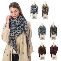 Женщина Leopard треугольник шарф Негабаритных зима теплая кисточка шарф Мода Большие Длинные шали палантины пашмины Одеяло TTA1740