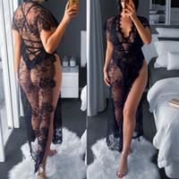 Сексуальное белье Женщины Black Lace Глубокий V шеи Robe пижамы платья See Through дамы цветочные Babydoll Nightgown сексуальные юбки костюмы