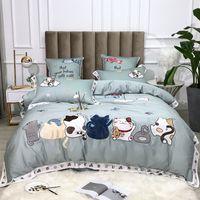 Yatak takımları Şanslı Kedi Nevresim Seti Chic Çiçek Nakış 4 ADET Yumuşak Mısır Pamuk Yorgan Çarşaf Yastık