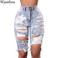Wjustforu Sexy Ripped Pants Denim Femme Holes Skinny Jean Femme taille haute Pantalons Femmes Casual Jean mi-longues Vestidos