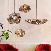 디자이너 스파크 볼 스테인레스 스틸 샹들리에 조명 현대 창조적 불규칙한 Luminaria 카페 Pendente 램프 Lamparas 러스터