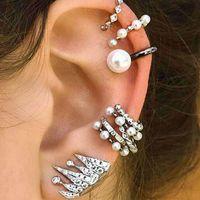 9 teile / set Bohemian Chic Clip-on Ohrringe für Frauen Luxus Mode Kristall Perlringe Krone Schraube Back Ohrstecker Schmuck Zubehör