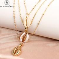 Drei Ebenen der Shell-Anhänger-Halskette natürliche Shell-Gold-Chian Frauen bester Freund Designer-Halskette 2020 Bohemian Schmuck-Z