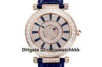 GS الأعلى مصمم امرأة الساعات FM.800 التلقائي الياقوت الماس كامل وارتفع الذهب حالة الأزرق جلد العجل حزام حالة شفافة الظهر السيدات الساعات