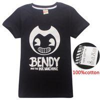 Bendy ve Mürekkep Makinesi 100% Pamuk 4-14Y Çocuk Erkek Tee Gömlek Siyah Çocuklar T Shirt Çocuk Tasarımcı Giyim Erkek DHL SS70