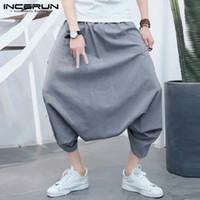 Pantalons pour hommes Incerun Plus Taille S-5XL Hommes Harem Baggy Baggy Drop Solide Drop De Mode Pantalon Streetwear Hip-Hop Casual Pantalon Hombre