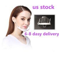 US STOCK Shiping 100PCS Health Care Tool Transparent Masks Permanent Anti Fog Catering Food Hotel Plastic Kitchen Restaurant Masks