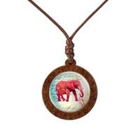 象の馬のモンキーパターンガラスペンダントウッドのネックレスレトロな動物ジュエリー写真ガラスカボションネックレスアクセサリー