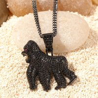 Hip Hop 14K Gold Plated Gorilla Pendant Necklace Iced Out Al...