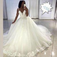 2020 Современные принцессы бальное платье Кружева Свадебные платья Аппликация Sequined бисером плюс размер Платье De Novia Gelinlik Trouwjurk Свадебные платья