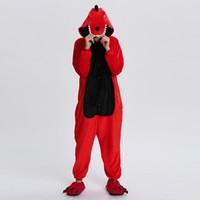 Kigurumi Dinossauro Unicórnio Adulto Inverno Onesies Vermelho Verde Flanela Animal Cosplay Onesies S-XL para Homens Mulheres Casa Custume