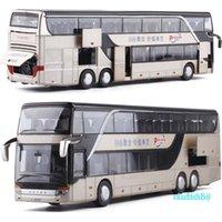 1:32 alta simulación doble turismo autobús modelo coches de juguete aleación intermitente sonido vehículo juguetes para niños Fc1
