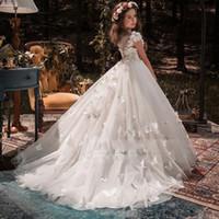 O ocasião formal borboleta crianças flores meninas vestidos primeiro comunhão vestido de baile de baile de princesa vestido de dama de honra vestidos de casamento com trem