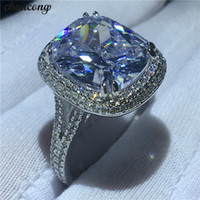 choucong Big Luxury Ring 925 sterling Silver Cushion cut 8ct...