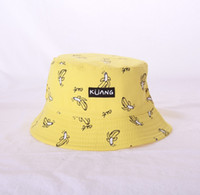 Kadınlar Muz Chips Çift Yan Katlama Balıkçı Güneş Şapka Açık Kepçe Cap Yaz Komik Geniş Brim Şapka Baskı
