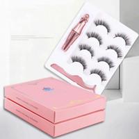 New 3D Magnetic Cílios Eyeliner e pestanas Kit Com reutilizável Não cola falso vison 5 Ímãs cílios falsos Pacote de 4 pares