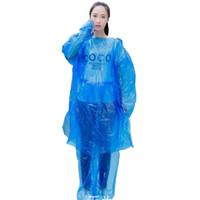 Léger Sweats à capuche jetable Raincoat PE plastique 2 couleurs Randonnée Imperméable unisexe Must urgence Rainwear Fit en plein air 1 8fs E19