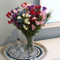 칼라 백합 꽃다발 장식 꽃 (12 개)의 머리 소프트 PE 재질 입체 플럼 절묘한 인공 꽃 2 8SY의 E1