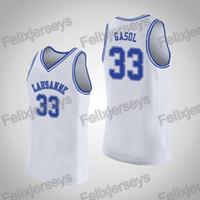 33 Marc Gasol NCAA Lausanne Collegiate School # 33 Weiß-Highschool Jersey College-Basketballjerseys-freies Verschiffen